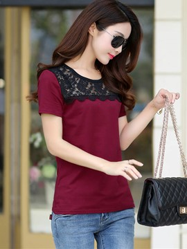 Ericdress Color Block Lace Patchwork Slim T-Shirt