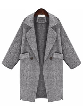 Ericdress Loose Solid Color Pocket Polo Coat