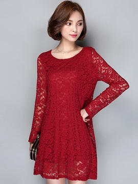 Ericdress Plain A-Line Long Sleeve Lace Dress