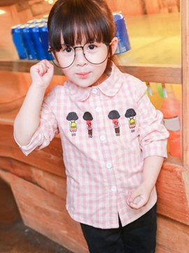 Ericdress Peter Pan Collar Lattice Cartoon Embroidery Girls Top