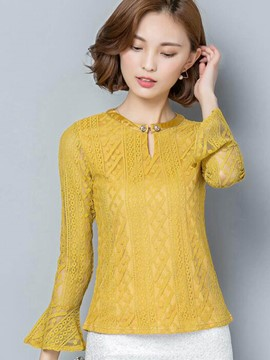Ericdress Solid Color Slim Lace Trumpet Blouse