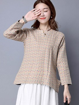 Ericdress Loose Polka Dots Ethnic Blouse