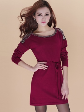Ericdress Plain Bead Lace-Up Sweater Dress