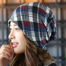Ericdress Double Layer Colorful Plaid Hat