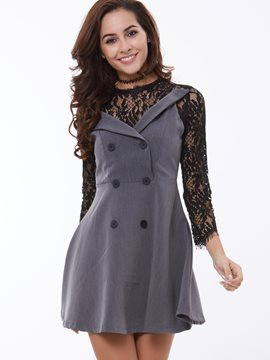 Ericdress Lace Patchwork Double-Breasted Casual Dress