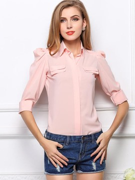 Ericdress Solid Color Slim Puff Blouse