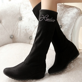 Ericdress Rhinestone Suede Knee High Boots