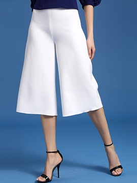 Ericdress Solid Color Simple Wide Legs Pants
