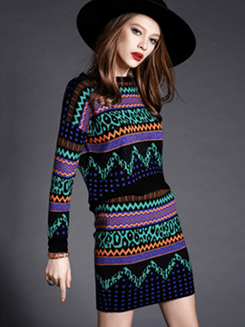 Ericdress Geometric Pattern Knitwear Suit