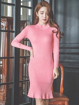Ericdress Plain Mermaid Stand Collar Sweater Dress