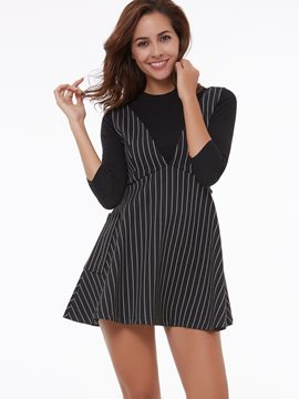 Ericdress Stripe Sleeveless Casual Dress