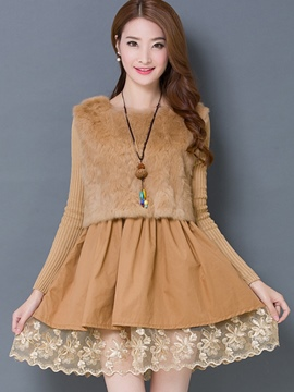 Ericdress Solid Color Knitted Patchwork Casual Dress