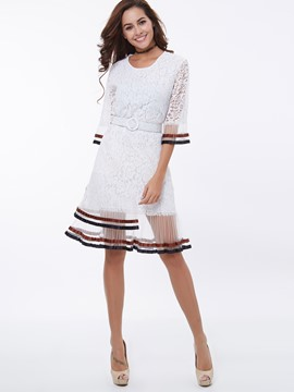 Ericdress A-Line Half Sleeve See-Through Lace Dress