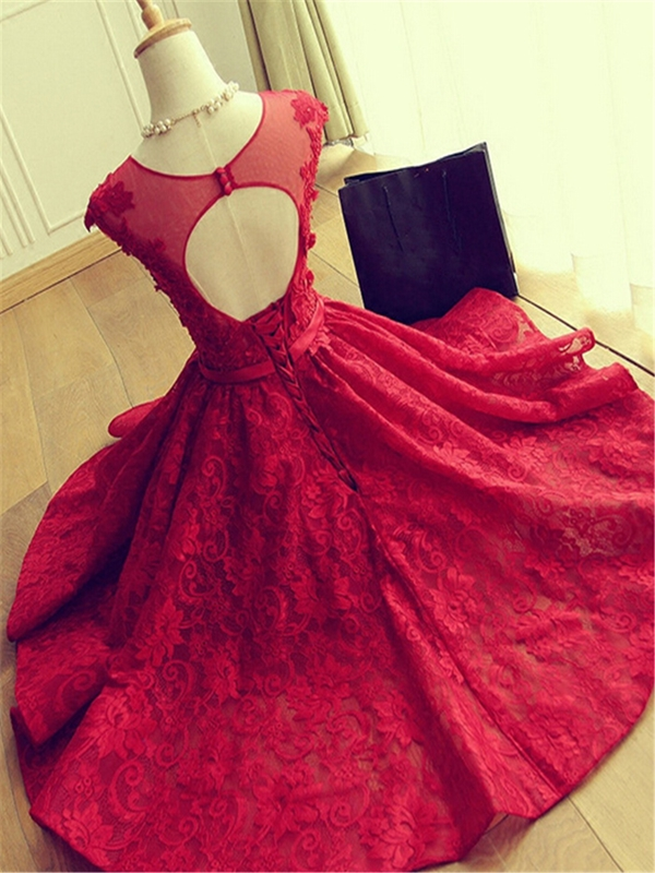 Ericdress A-Line Scoop Cap Sleeves Appliques Beaded Button Hllow Lace Homecoming Dress
