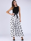 Ericdress Polka Dots Patchwork Expansion Maxi Dress