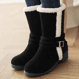 Ericdress Suede Furry Round Toe Snow Boots