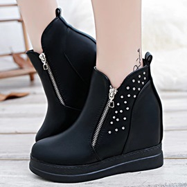 Ericdress Rivets Decorated Round Toe Elevator Heel Ankle Boots
