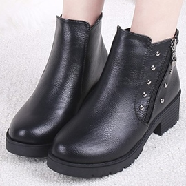 Ericdress PU Round Toe Rivets Ankle Boots