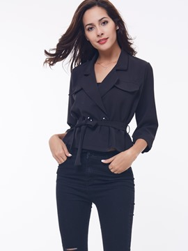 Ericdress Three-Quarter Lace-Up Jacket