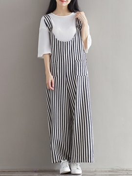Ericdress Stripe Loose Jumpsuits Pants