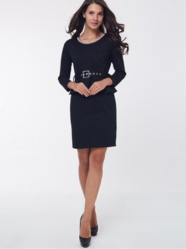 Ericdress Plain Double-Layer Patchwork Bodycon Dress