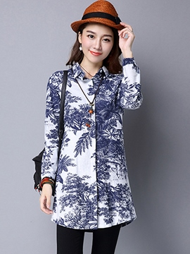 Ericdress Tree Print Single-Breasted Blouse