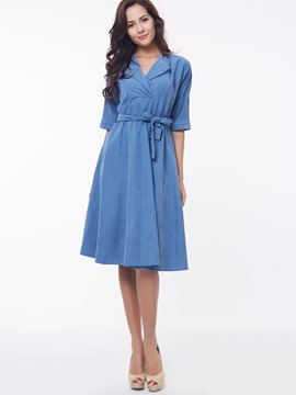 Ericdress Plain Half Sleeve Lace-Up Expansion Casual Dress