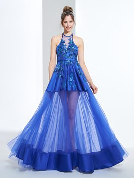 Ericdress A-Line Halter Appliques Sequins Floor-Length Prom Dress
