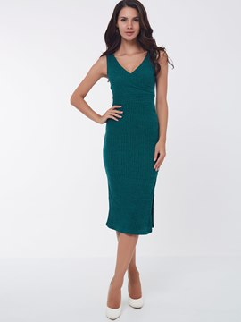 Ericdress Plain V-Neck Sleeveless Split Sheath Dress
