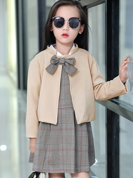 Ericdress Stand Collar Cardigan Bow Patch Suspender Pleated Three-Piece Girls Outfit