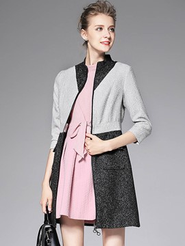 Ericdress Color Block Slim Zipper Coat