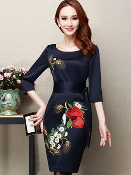 Ericdress Embroidery Lace-Up Patchwork Sheath Dress
