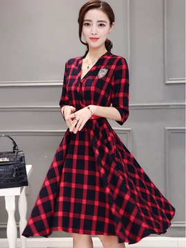 Ericdress Color Block Plaid A-Line Casual Dress