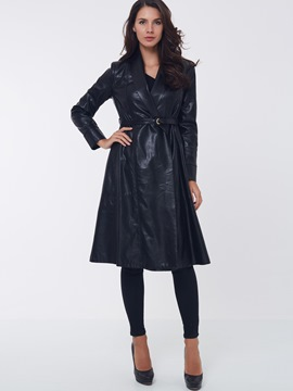 Ericdresss Lace-Up A Line Leather Coat