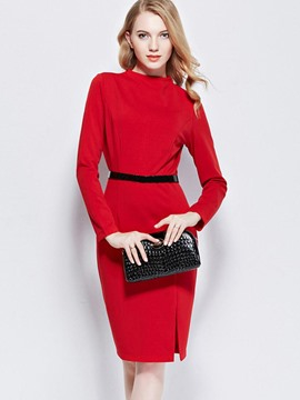 Ericdress Plain Long Sleeve Split Sheath Dress