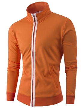 Ericdress Plain Zip Slim Men's Hoodie