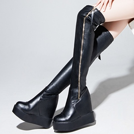Ericdress PU Platform Wedge Heel Thigh High Boots
