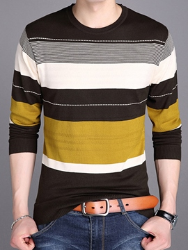 Ericdress Color Block Stripe Crew Neck Men's Sweater