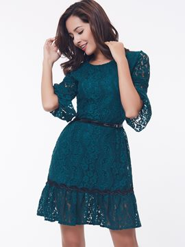 Ericdress Solid Color Patchwork Round Neck Lace Dress