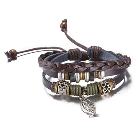 Ericdress Vintage Style Leather Woven Bracelet