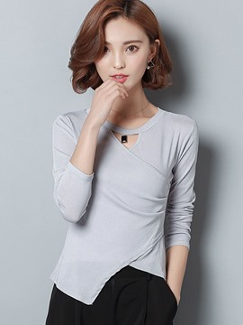 Ericdress Solid Color Irregular Slim T-Shirt