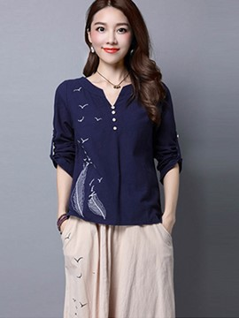 Ericdress Feather Print Button Ethnic Blouse