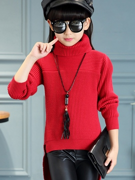Ericdress High Collar Before Long and Short Styles Knitting Girls Top