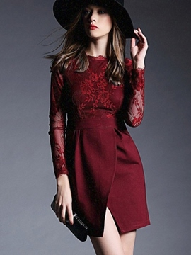 Ericdress Solid Color Lace Patchwork Long Sleeve Bodycon Dress