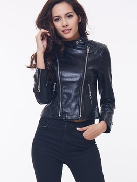 Ericdress Double Zipper PU Mortorcyle Jacket