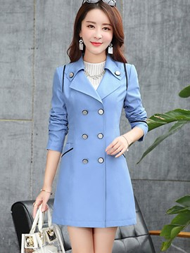 Ericdress Color Block Double-Breasted Slim Trench Coat