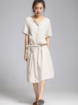 Ericdress Pleated Button Lace-Up Pocket Casual Dress