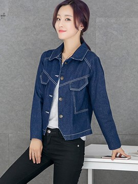 Ericdress Solid Color Slim Single-Breasted Denim Outerwear