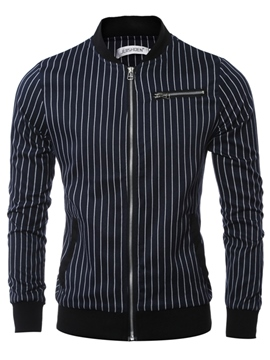 Ericdress Stripe Zip Vogue Casual Men's Jacket