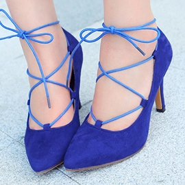 Ericdress Bright Suede Point Toe Lace up Prom Shoes